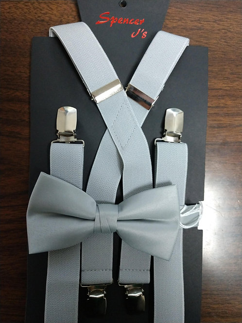 Bow-tie and Suspenders Set in Silver