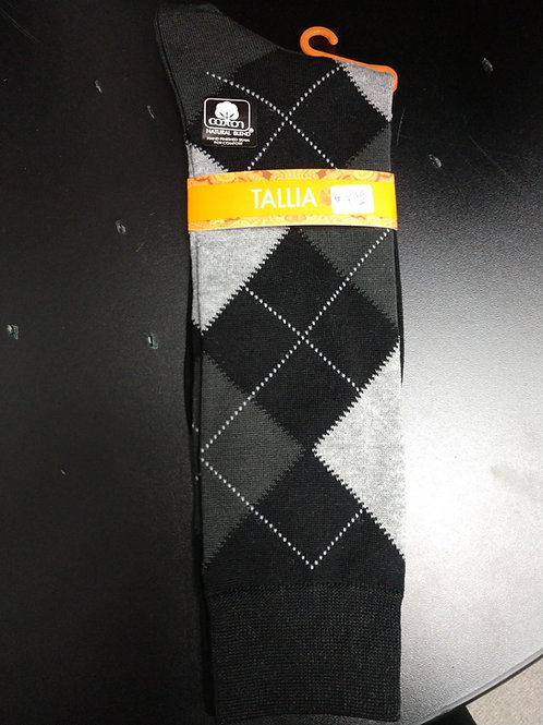 Tallia Black and White Argyle Men's Dress Socks