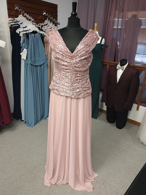 Cachet Floor-Length Dress in Blush