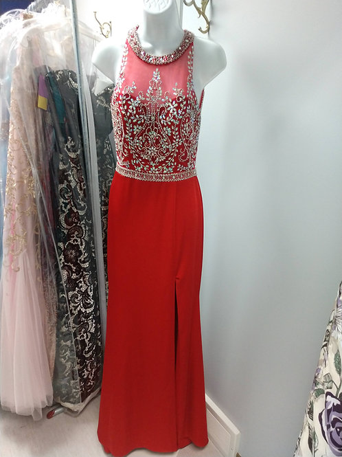 Studio 17 Prom Dress with Slit in Red