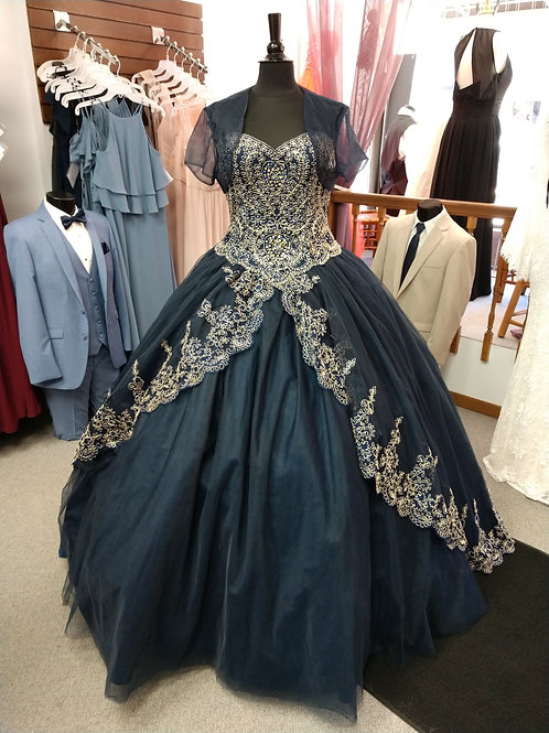 Mary's Bridal Quinceanera Dress in Navy/Gold