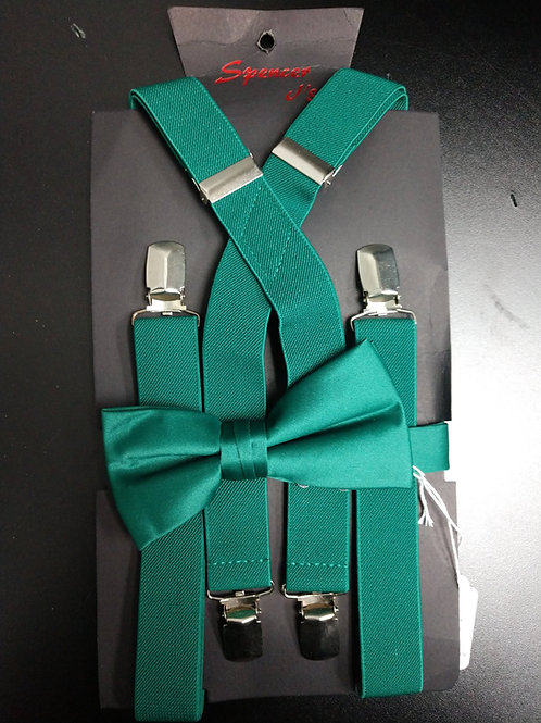 Bow-tie and Suspenders Set in Hunter Green