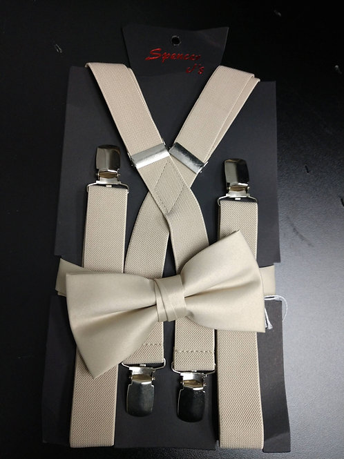 Bow-tie and Suspenders Set in Champagne
