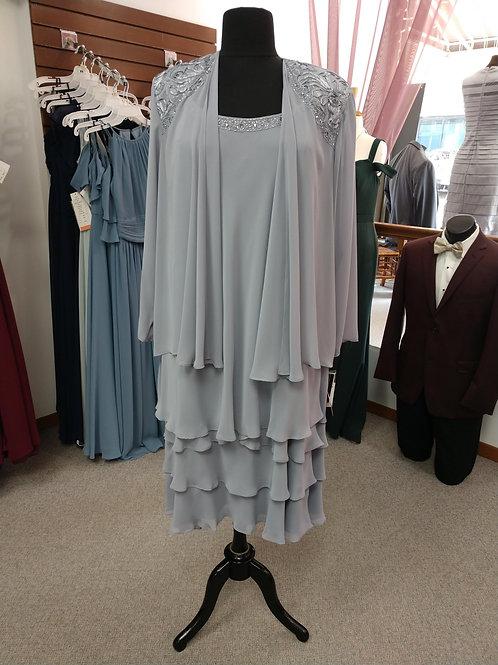 SLNY Ruffle Dress w/ Matching Jacket in Concrete