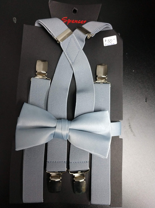 Bow-tie and Suspenders Set in Platinum