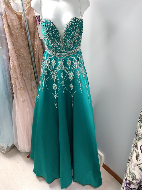 Tiffany Designs Strapless Prom Dress in Jade