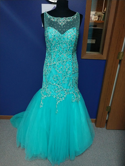 Tiffany Designs Mermaid Prom Dress in Aqua