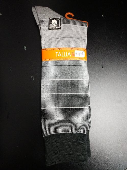 Tallia Black and White Stripe Men's Dress Socks