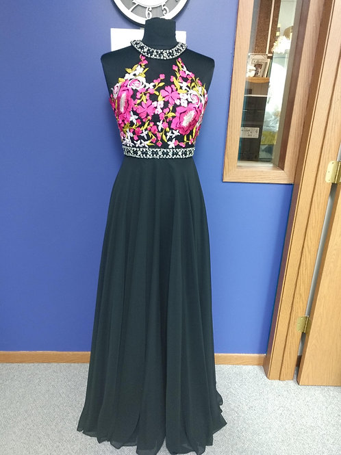 Studio 17 High Neck Embroidered Prom Dress in Black Multi