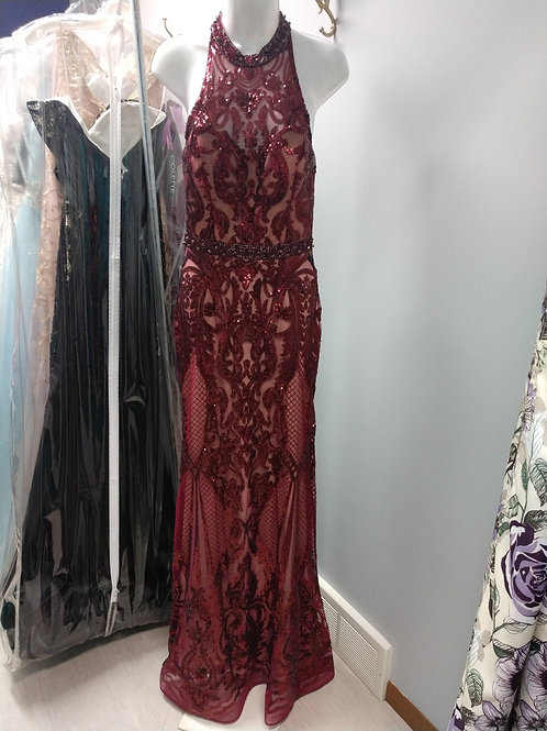 Tiffany Designs Sequin Embroidered Prom Dress in Wine/Nude