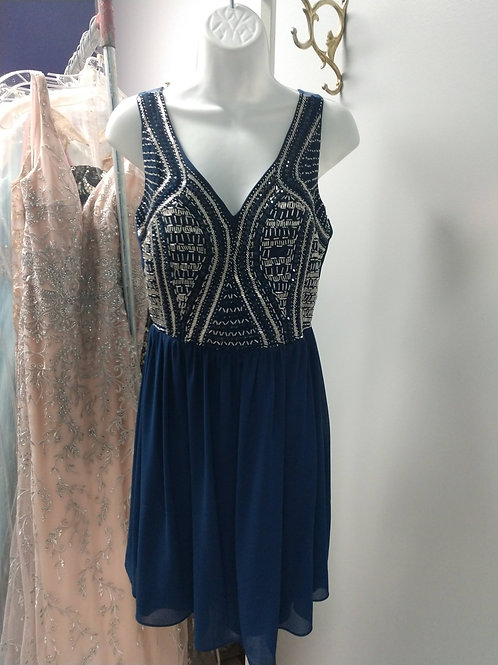 Short Blue Party Dress with Beaded Bodice