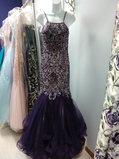 Tiffany Designs Mermaid Prom Dress in Plum/Champagne