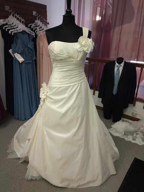 Discontinued Bonny Bridal One Shoulder Wedding Dress Size 10