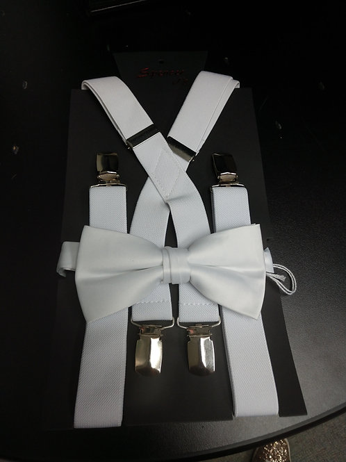 Bow-tie and Suspenders Set in White