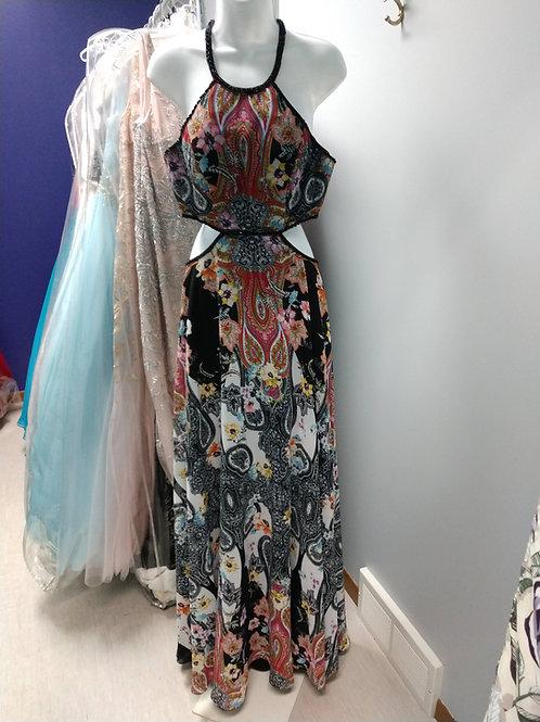 Colette Mon Cheri Prom Dress in Black/Multi Paisley