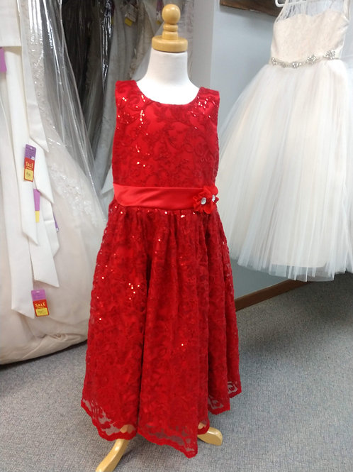 Tip Top Flower Girl Dress with Sequins in Red