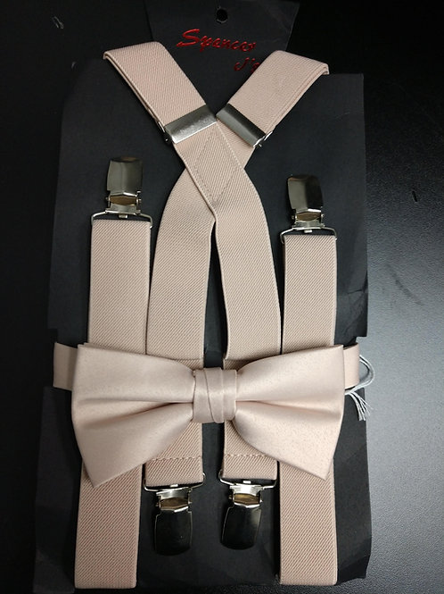Bow-tie and Suspenders Set in Blush