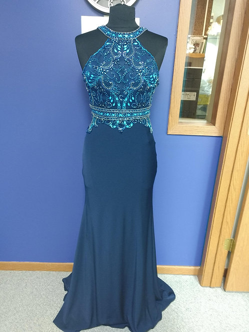 Tiffany Designs Jeweled Prom Dress in Navy