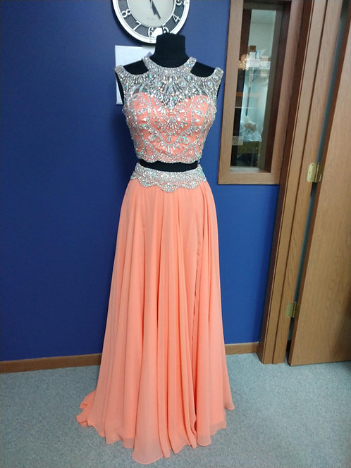 Tiffany Designs Two-Piece Cold Shoulder Prom Dress in Sherbet