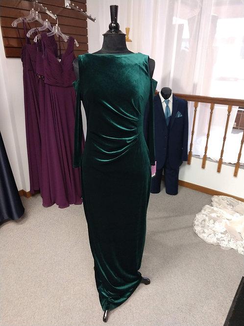 Marina Dresses Velvet, Cold Shoulder Dress in Hunter