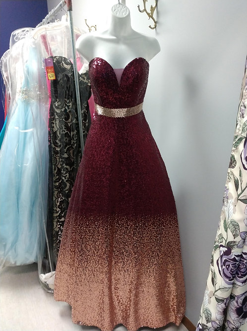 Tiffany Designs Sequin Ombre Ballgown in Burgundy/Rose Gold