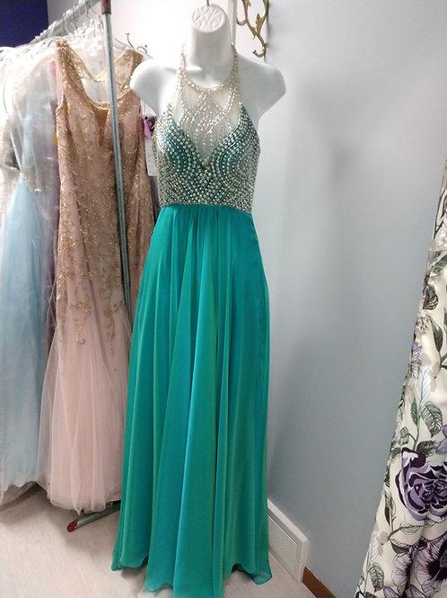 Studio 17 Halter Prom Dress in Jade