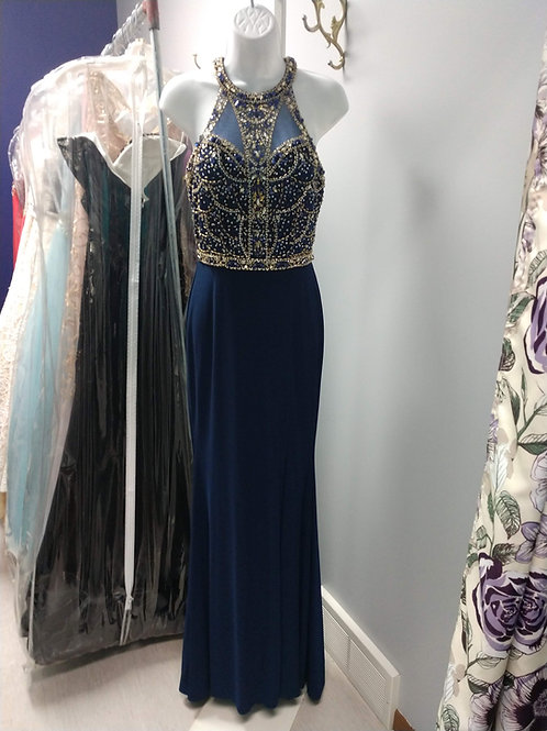 Studio 17 Prom Dress in Navy/Gold