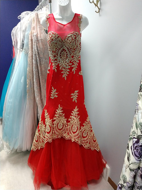 Red and Gold Mermaid Prom Dress