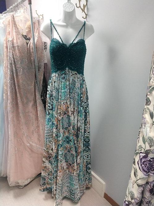 Colette Mon Cheri Double Strap Paisley Dress in Teal
