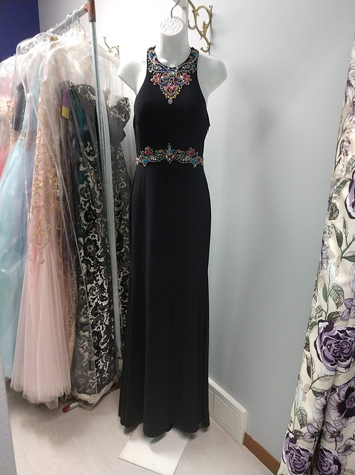 Studio 17 Bejeweled Prom Dress in Black