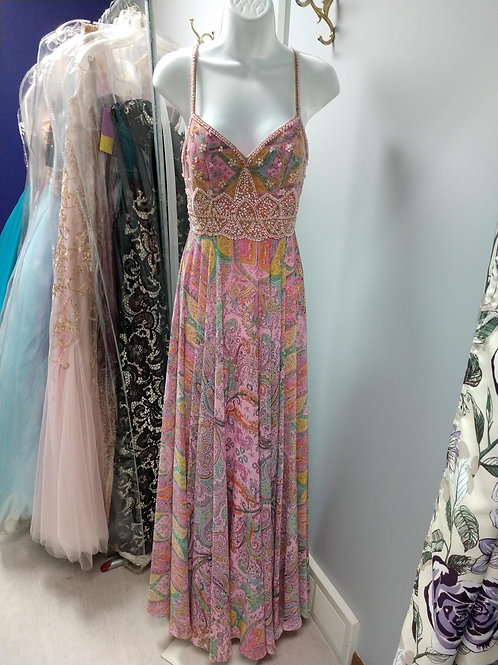 Colette Prom Dress in Pink-Multi Paisley