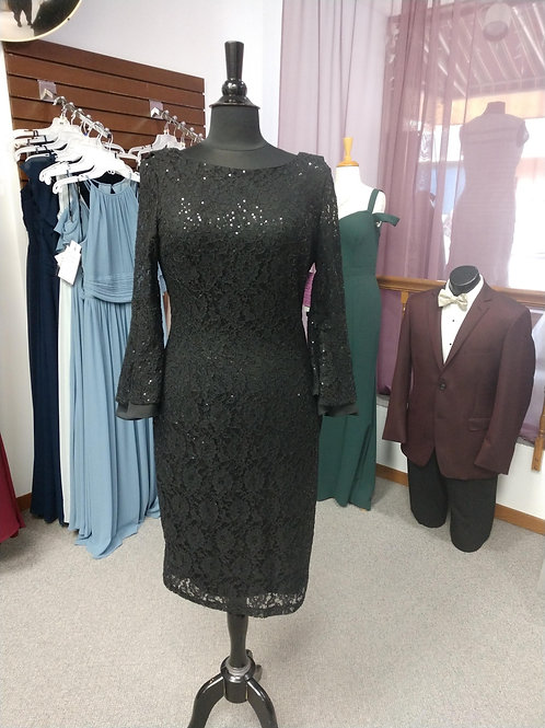 SLNY Short, Bell Sleeve Dress in Black