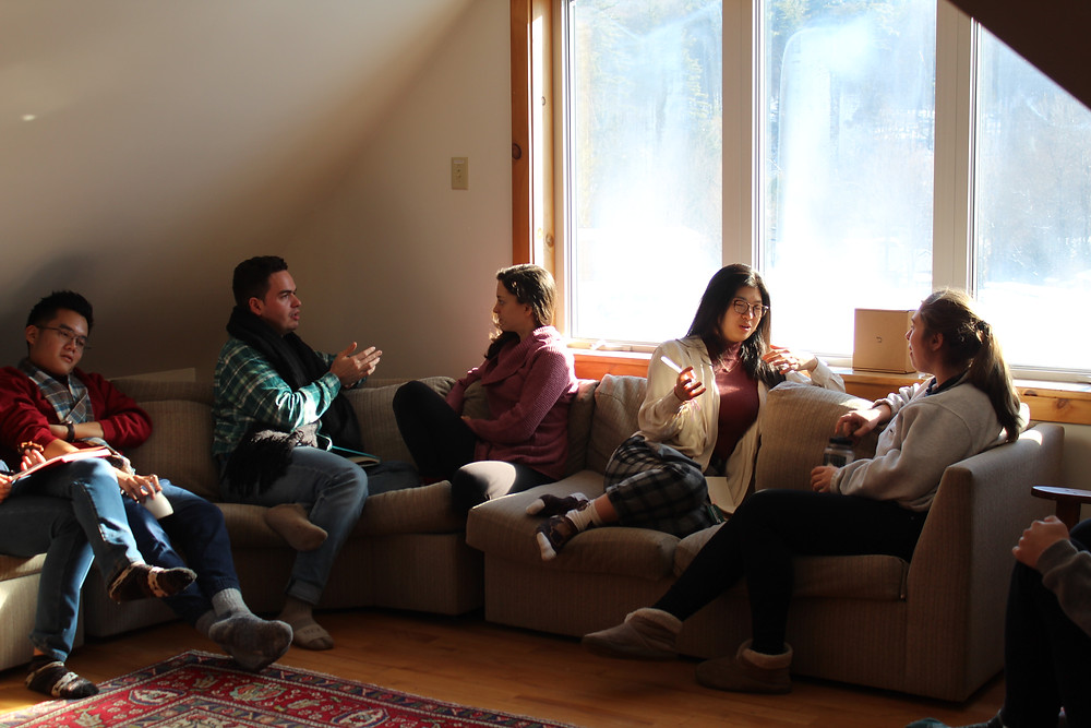 Students participate in a visioning excersise during a SLP winter retreat