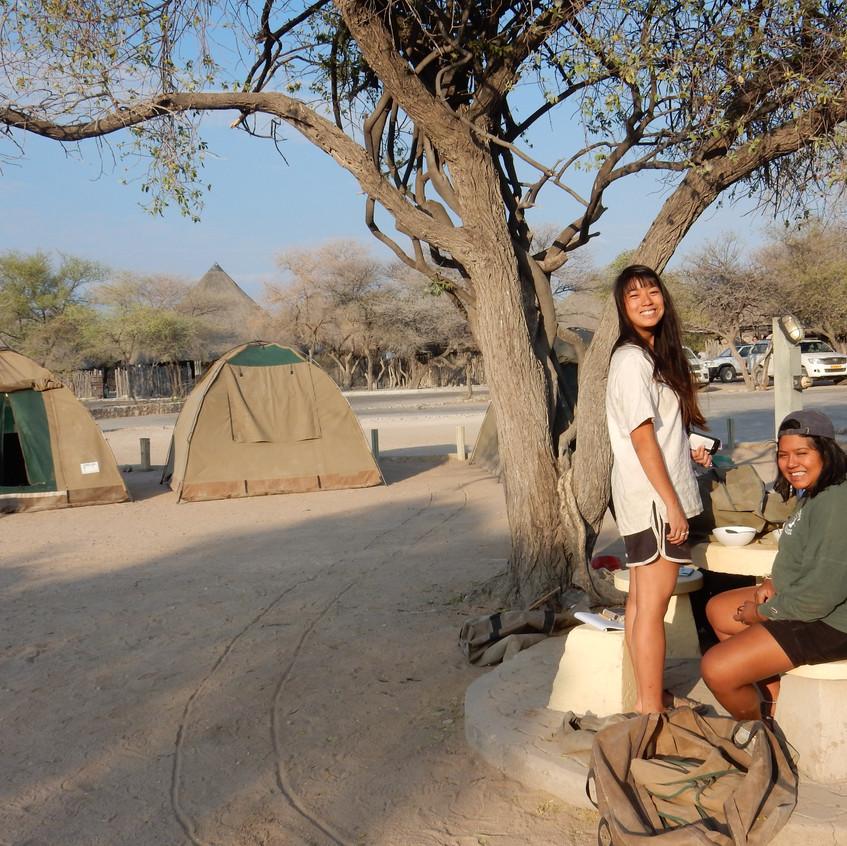 KC and Dalia at our campsite in the Etosha National Park, Namibia. Image by Akhila Kovvuri '18