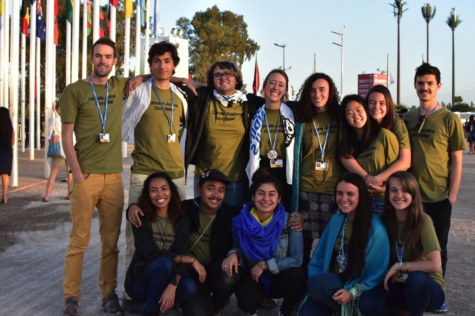 Remy Franklin '13 (back left) and Morgan Curtis '14 (front right) were among 13 young climate leaders that attended the UN climate talks as part of the SustainUS COP22 delegation.