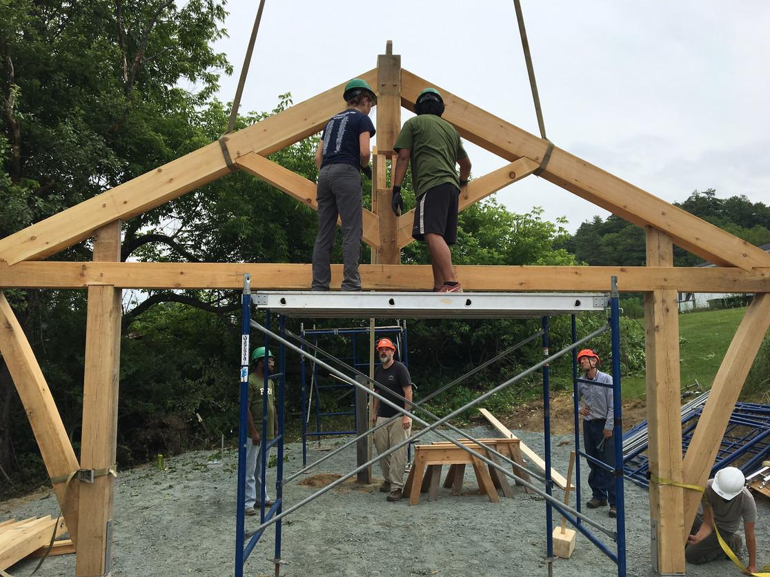 Timber framing at the farm