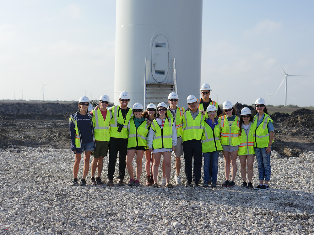 Students visit a wind farm in San Patricio County, TX