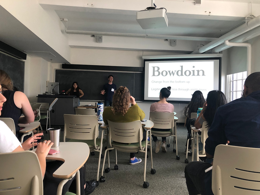 Students from Bowdoin present on their waste reduction intiative (Photo by Sophia Linkas)