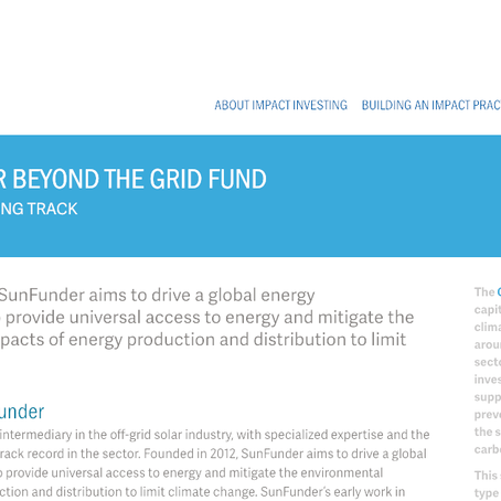 The Global Impact Investing Network showcases SunFunder's BTG Fund