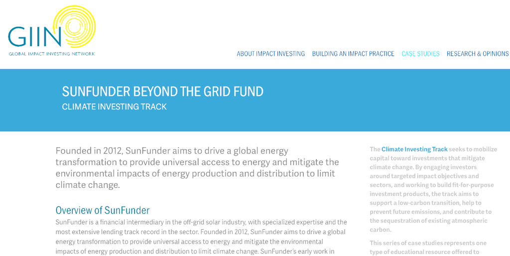 The Global Impact Investing Network showcases SunFunder's