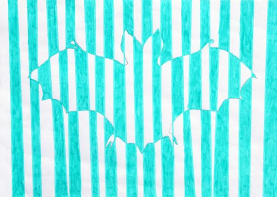 """August Macke, """"Bat"""", 2005, marker on paper, 21 x 30 cm © August Macke, 2005 / Courtesy Pelz Collection, Stuttgart, Germany"""