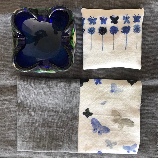 blue butterflies and flowers lavender pouch and buckwheat eye pillow