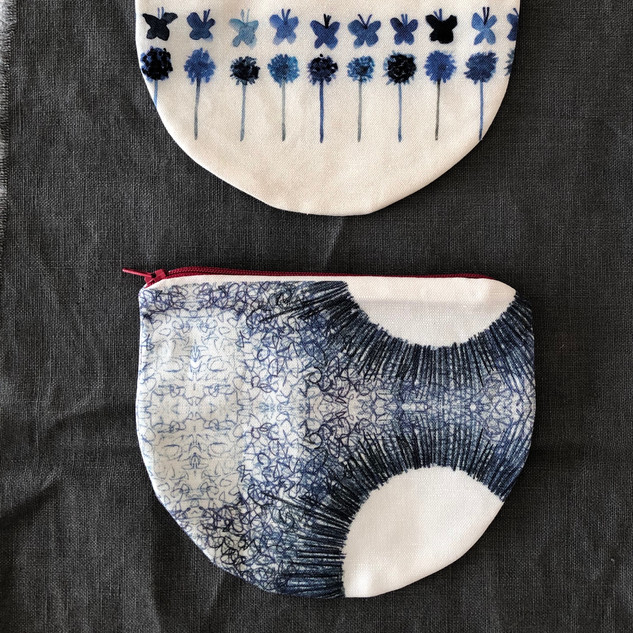 blue and white pouches