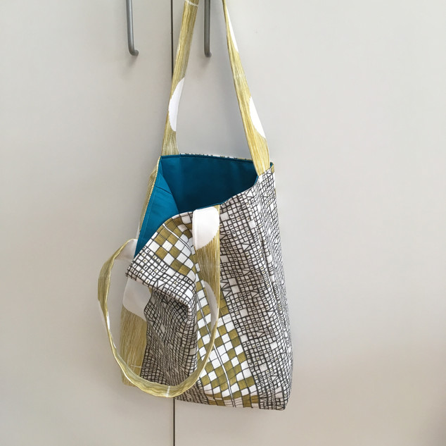 golden mosaic tote with azure blue lining