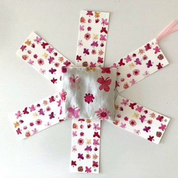pink butterflies and flowers lavender pouch / bookmarks