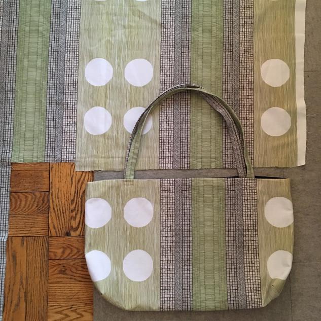 green mosaic tote bag