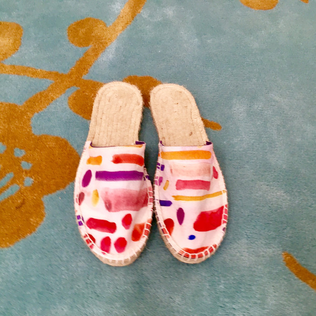 red dots and dashes espadrille mules