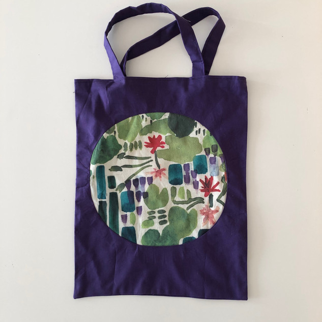lilypad reverse applique tote bag