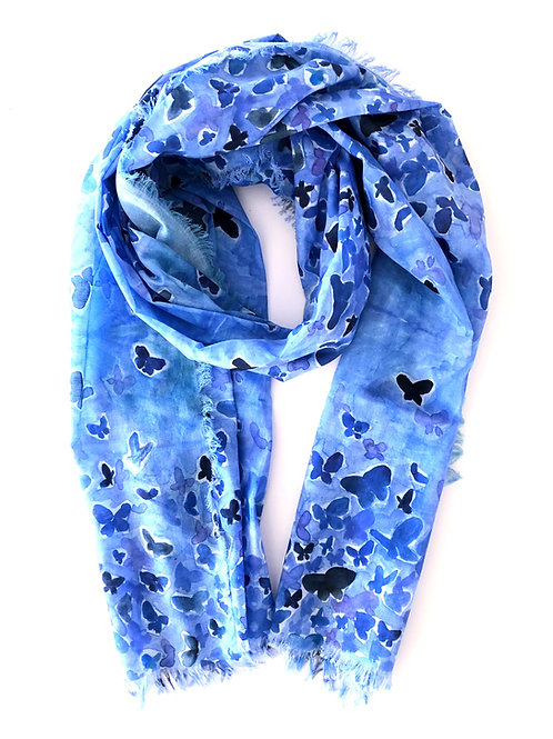 Blue Butterfly Medium Cotton Voile Scarf