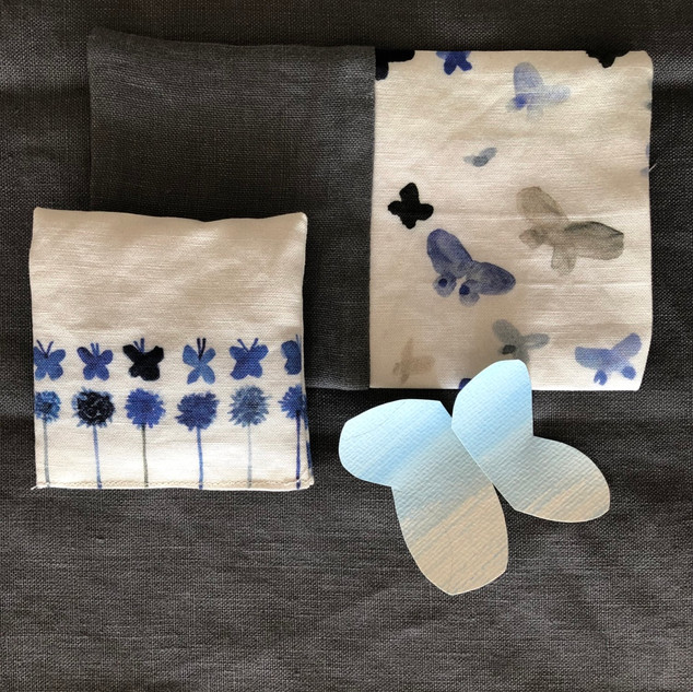 blue butterflies and flowers lavender pouches